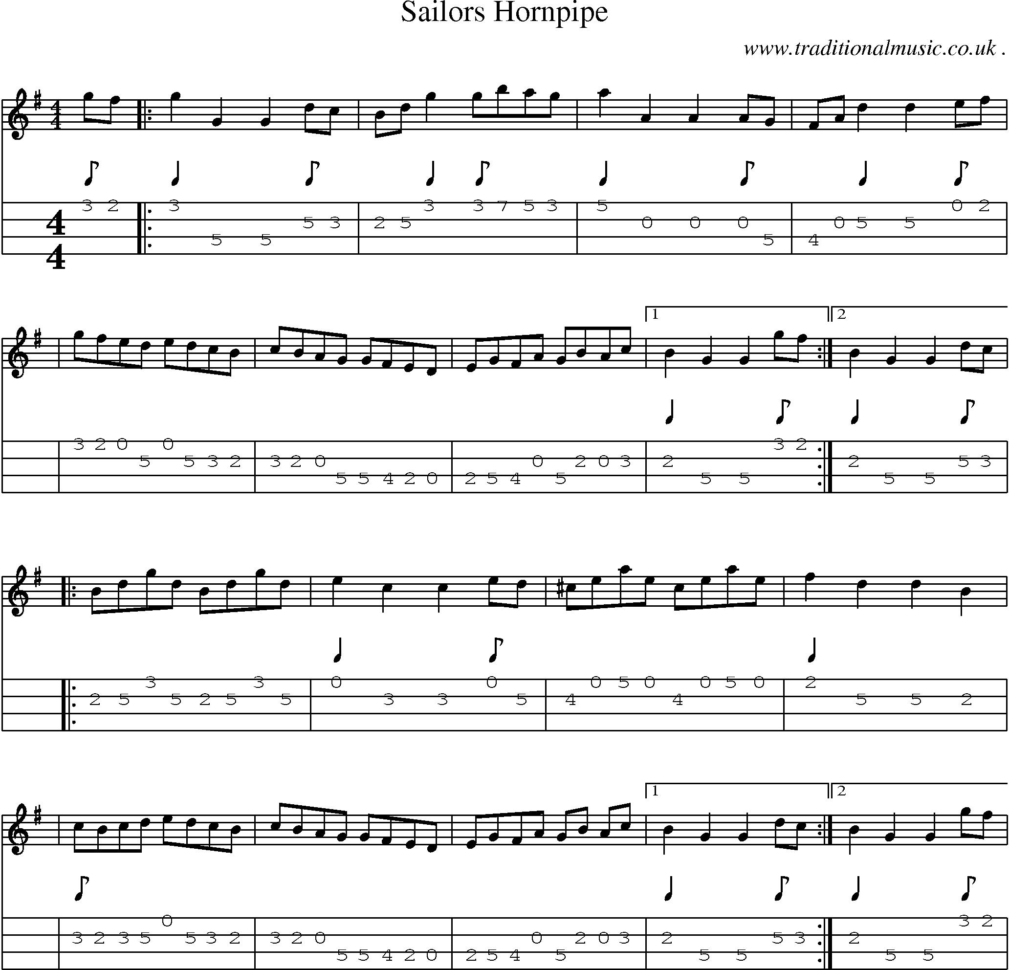 Sheet-Music and Mandolin Tabs for Sailors Hornpipe | Mandolin jams
