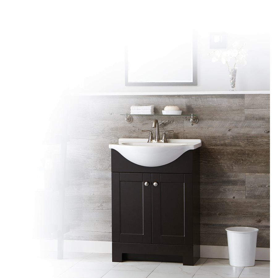 Style Selections Euro Espresso 25 In Integral Single Sink Bathroom Vanity With Cultured Marble Top Bathroom Vanity Single Sink Bathroom Vanity Cultured Marble