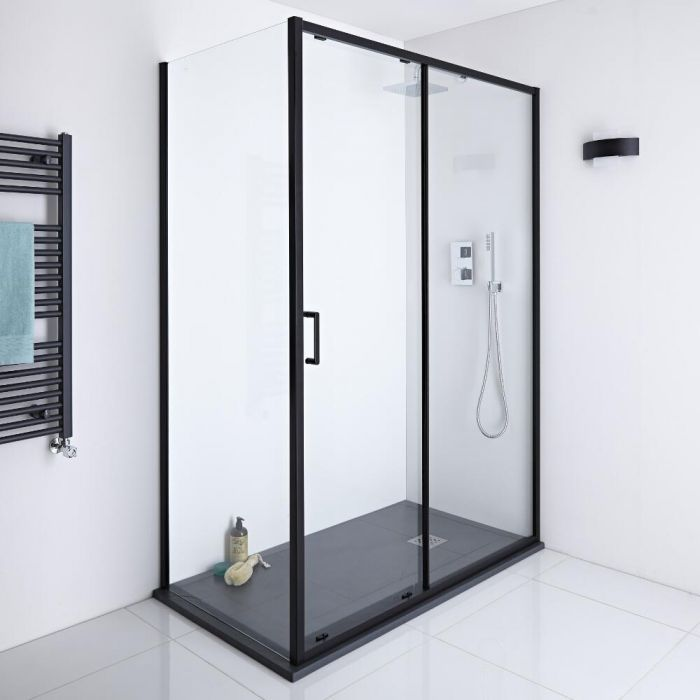Give Your Bathroom A Designer Look With The Milano Nero Black Sliding Shower Door Enclosure And Slate Effect S Shower Enclosure Shower Doors Black Shower Doors