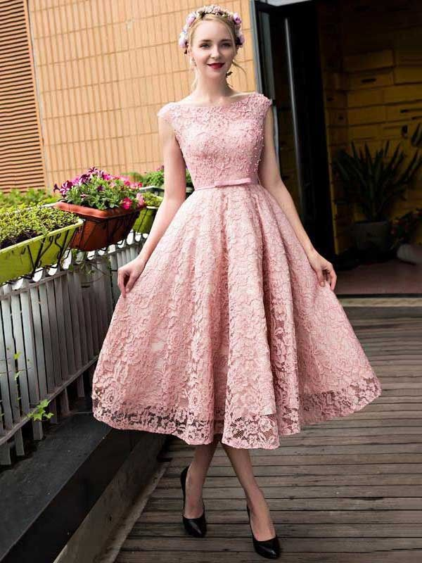 A-line Scoop Neck Lace Tea-length Sashes / Ribbons Lace-up Sweet ...