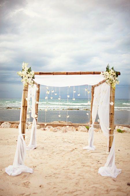White Fabric Arbor For Ceremony Wedding Bride Chuppah Beach