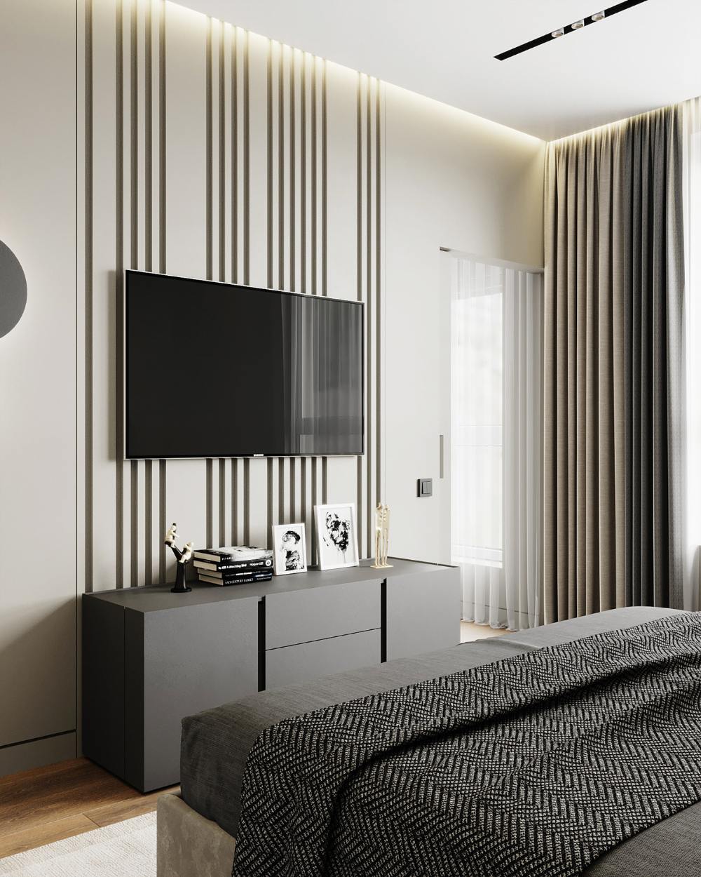 "Bedroom In Contemporary Style On Behance: Bedroom ""50 Shades Of Gray"" On Behance"
