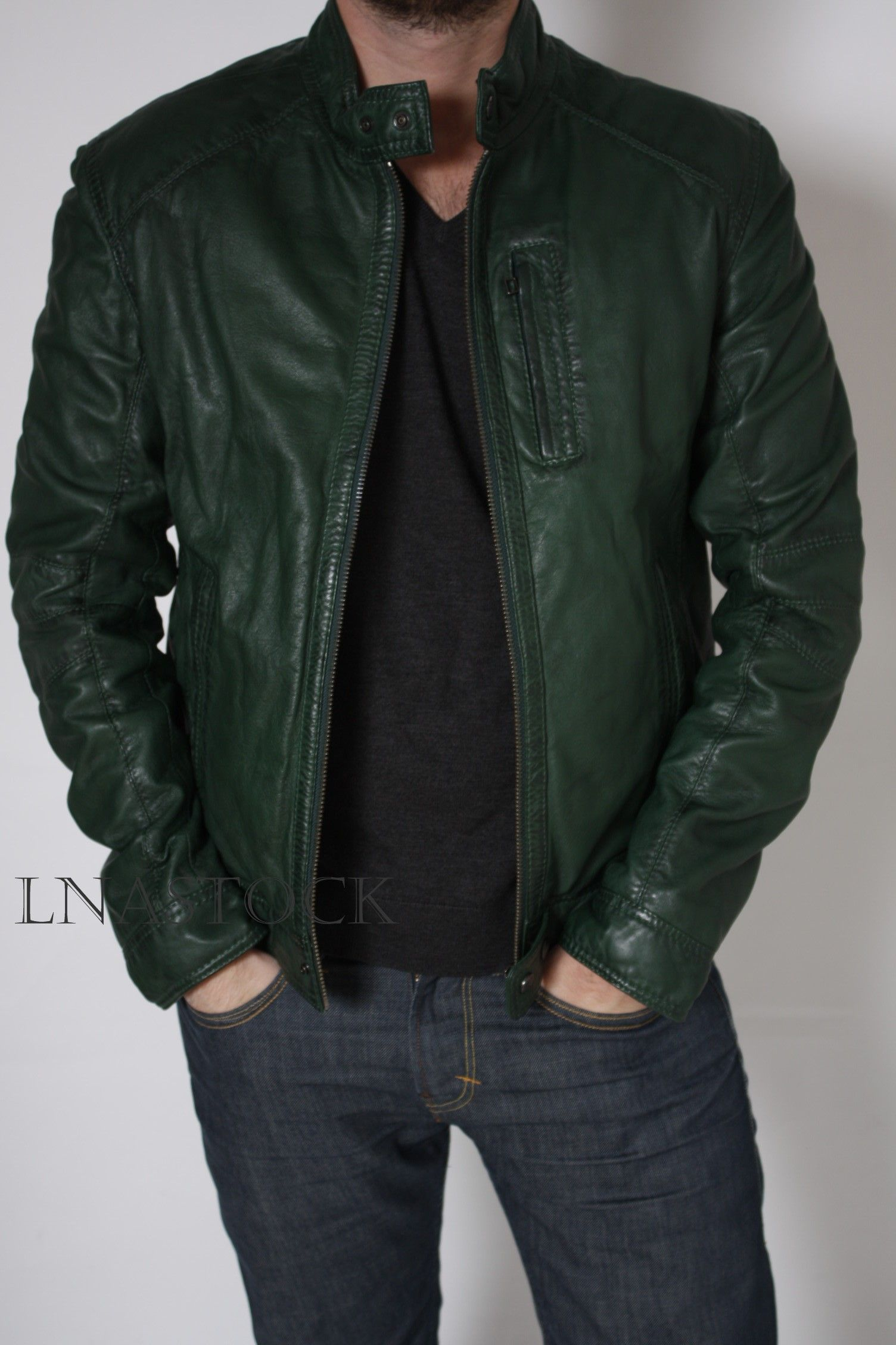 Blouson cuir vert homme