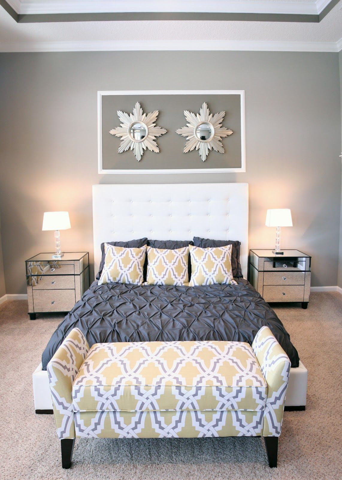 Yellow Master Bedroom Decorating Ideas: Master Bedroom: Grey And Yellow, Mirrored Nightstands