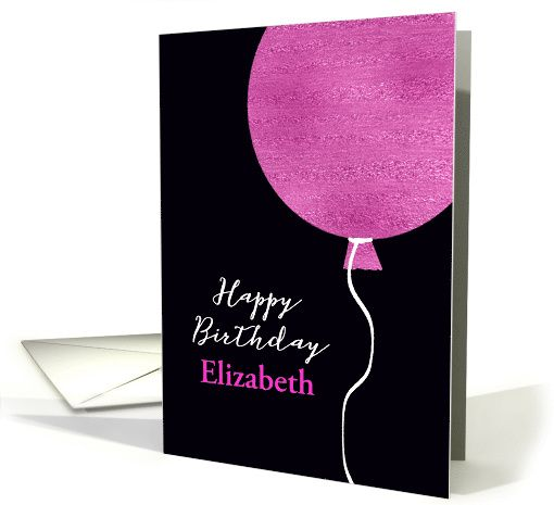 Customize Happy Birthday Card Pink Glitter Foil Effect Balloon