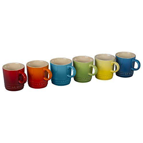 Le Creuset 6 Piece Colorful Stoneware 35 Ounce Petite Espresso Mug Set Rainbow Assortment Colors Read More Reviews Of The Pro Mugs Mugs Set Amber Glassware