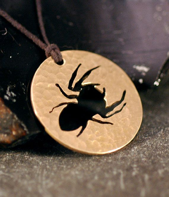 new design for halloween jumping spider necklace sm hand pierced by