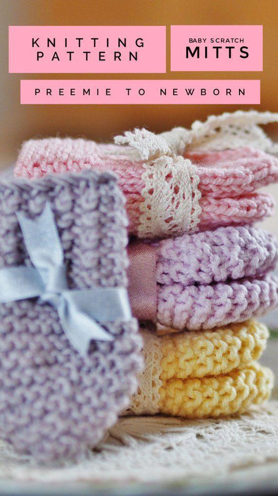 Baby Scratch Mittens Knitting Pattern Preemie To Newborn Pdf