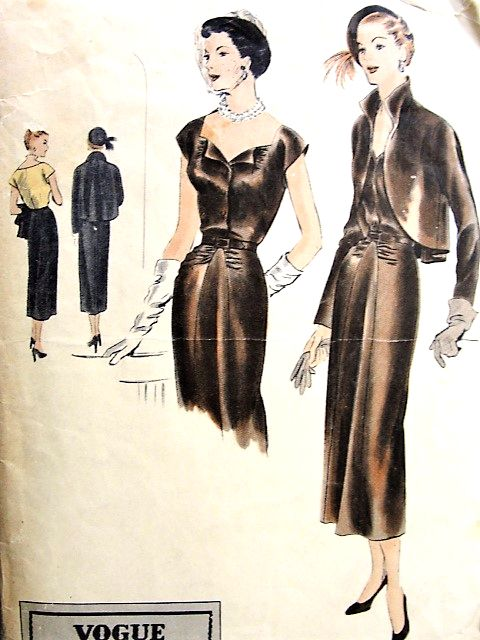 1940s GORGEOUS Evening Dress and Jacket Pattern VOGUE Special Design ...