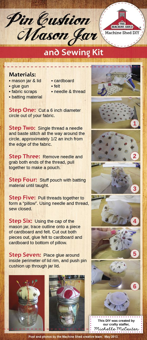How to Make a Pin Cushion #DIY #pincushion #masonjar | Machine Shed ...