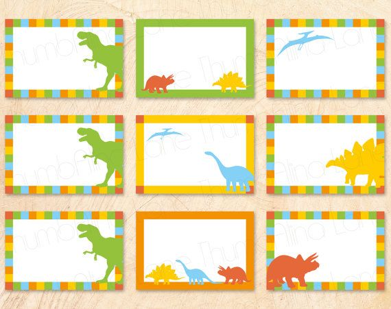 dinosaur printable buffet cards food tags name tags instant