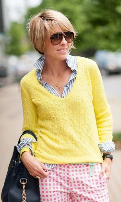 Yellow Lightweight Cable Knit Pullover
