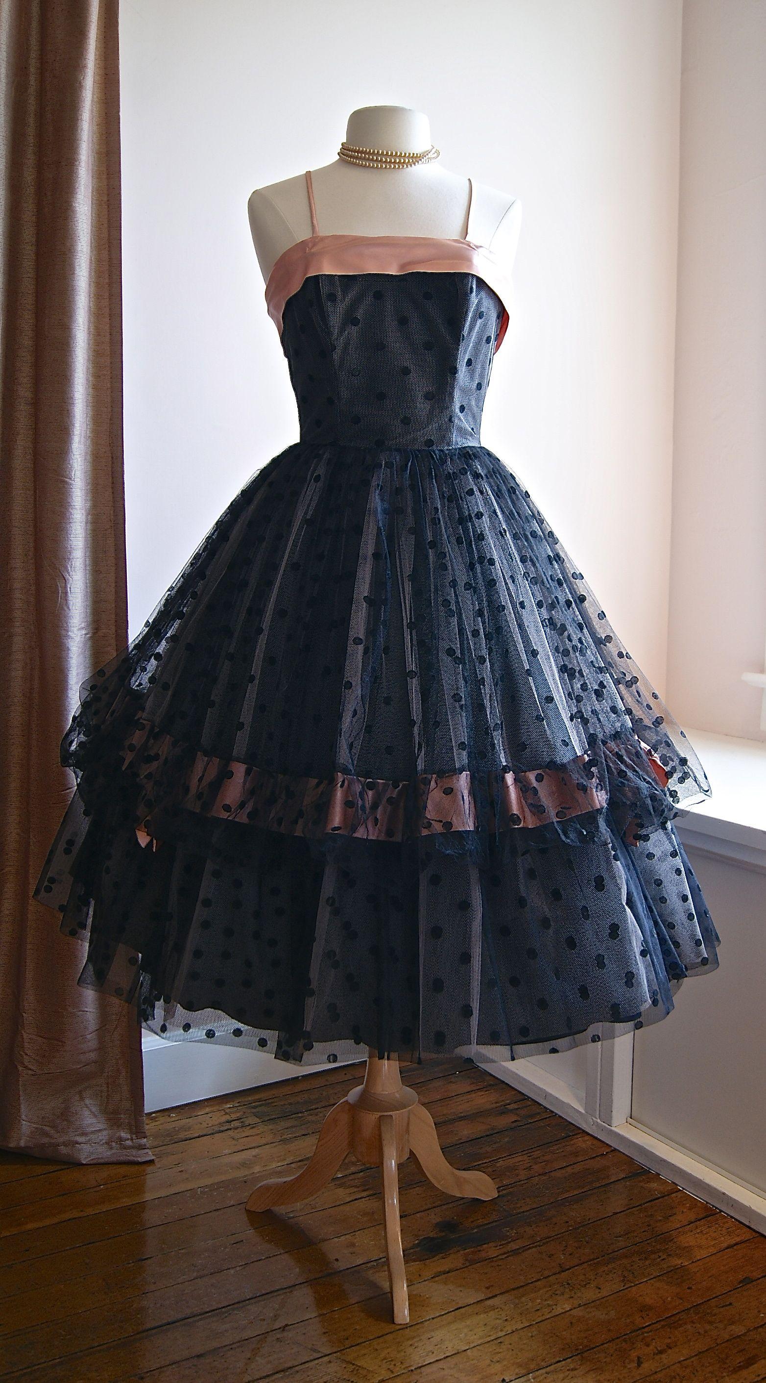 Vintage prom dress us black and pink polka dot party dress at