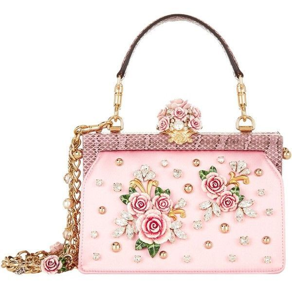 8a43bbc07672 Dolce   Gabbana Satin Rose Embellished Top Handle Bag (106 850 UAH) ❤ liked  on Polyvore featuring bags