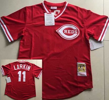 online store 36ed1 48f7f Cincinnati Reds #11 Barry Larkin Mesh BP Red Throwback Men's ...