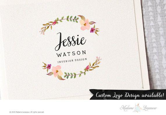 premade #logodesign watercolor flower wreath logo #branding website logo feminine design