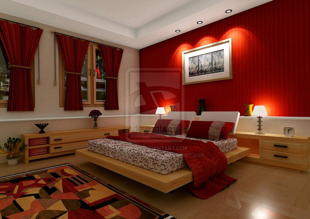 Delightful Red Bedrooms Decorating Ideas Part - 6: Red Bedroom Design