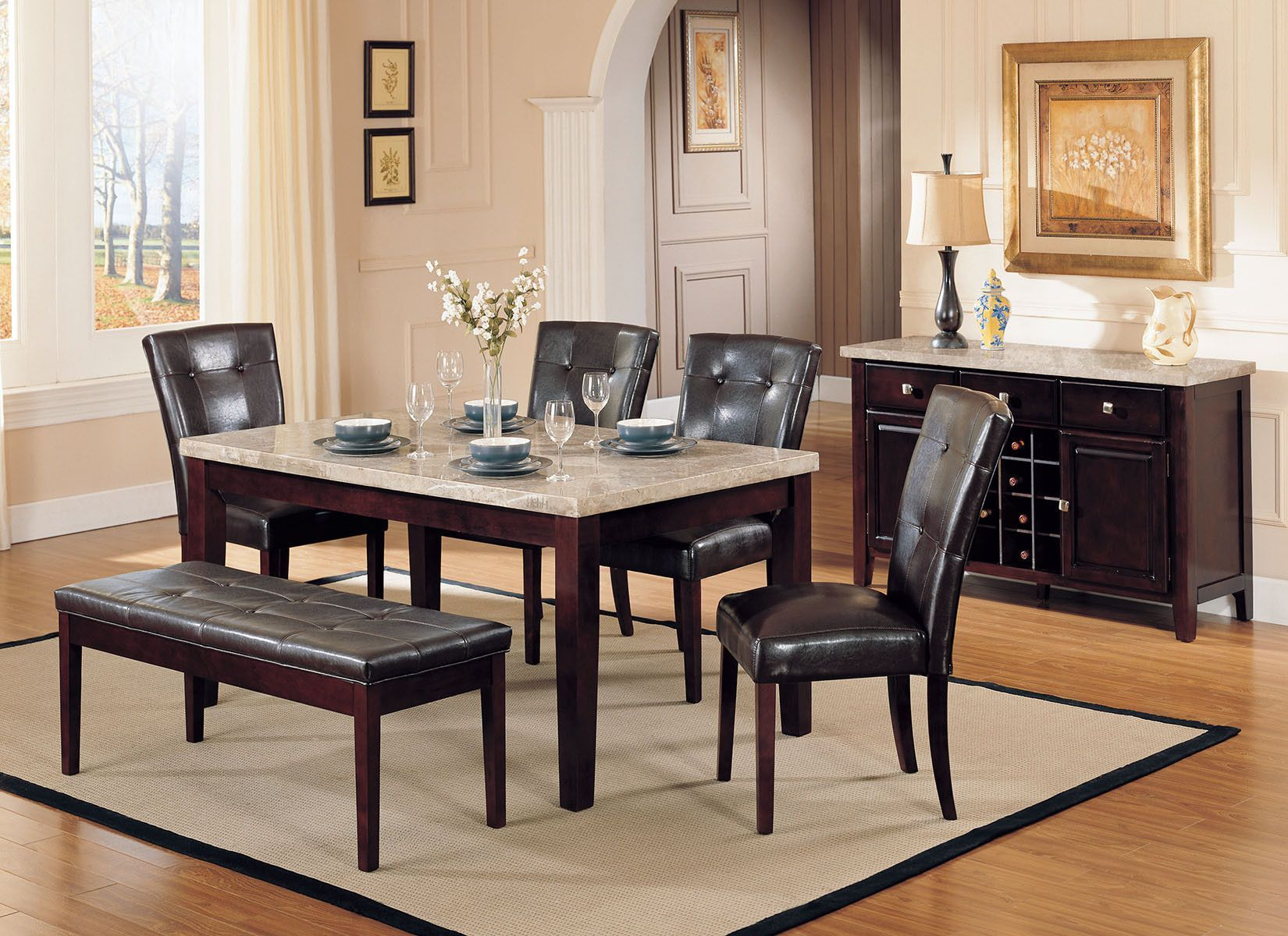 REC. DINING TABLE WH MARBLE/WALNUT -W/P2