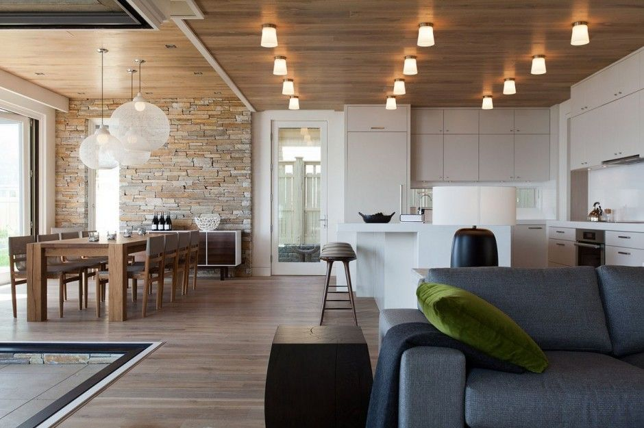 Lakeside Vacation Home Combines Natural Materials Modern Living 7 Dining Jpg House Interior Interior Design House Design