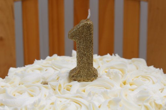 Gold glitter birthday candle  Number 1 by PrettyLilParty on Etsy