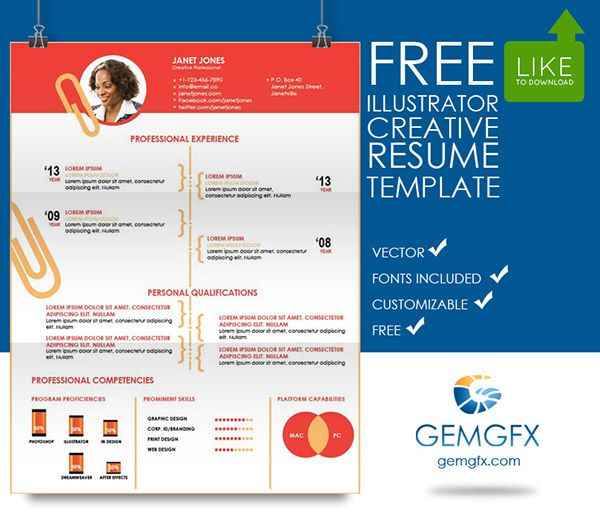Simple Illustrator Resume Template (FREE Download) on Behance AI