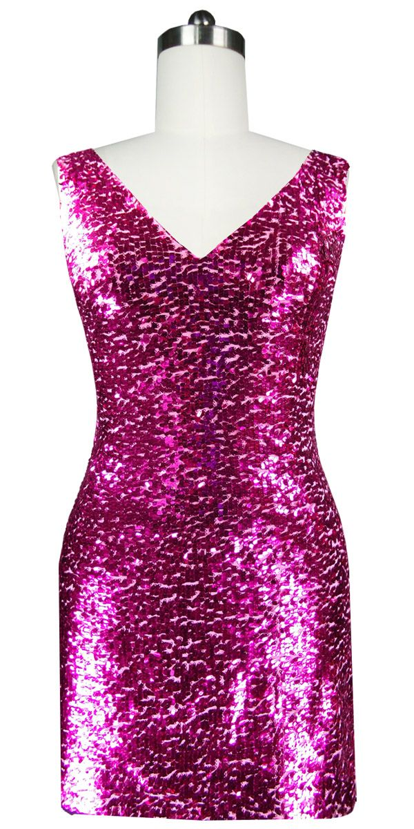 4841f4856f7 Short Sequin Fabric Dress in Fuchsia with Cowl Back | Short Express ...