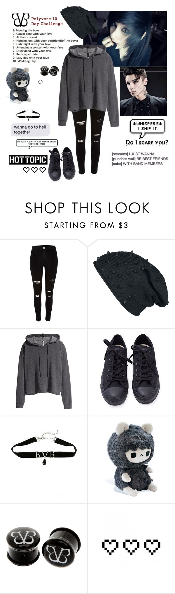 """BVB 2"" by emokittyyy ❤ liked on Polyvore featuring H&M, Converse and Retrò"