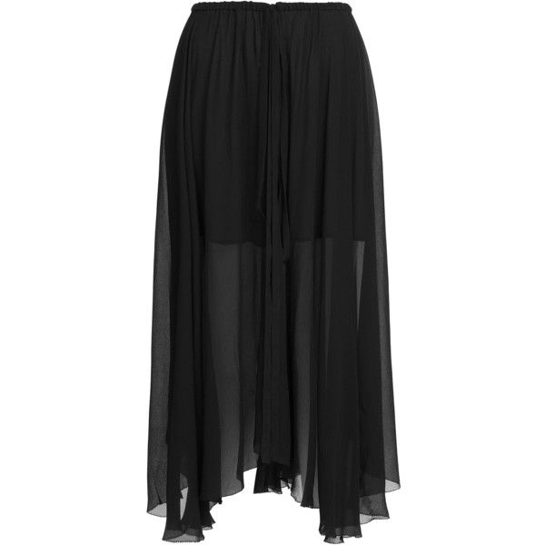Isabel Marant Etoile Maxi Skirt ($330) ❤ liked on Polyvore featuring skirts, black, maxi skirt, black chiffon skirt, black maxi skirt, chiffon maxi skirt and long boho skirt