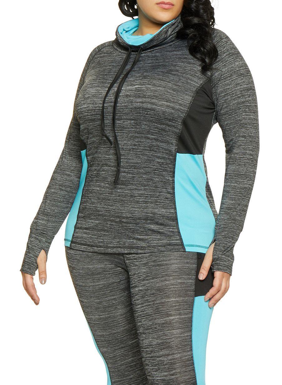 wholesale dealer 5c263 f05af ... Long Sleeves, Funnel Neck, Sweatshirt, Color Blocked, 9014466495. Plus  Size Color Block Activewear Top - TURQUOISE - Size 2X Plus Size Womens  Clothing,