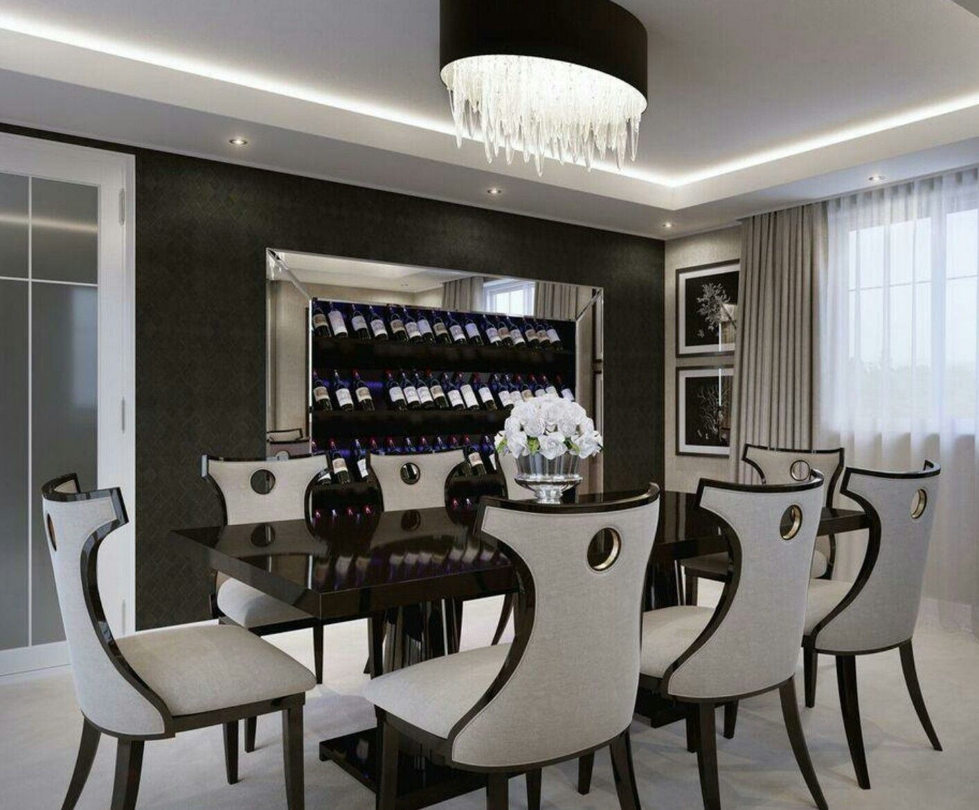 Modern interior designed dining room showhome woven fabric modern interior designed dining room showhome woven fabric wallpapers in two dzzzfo