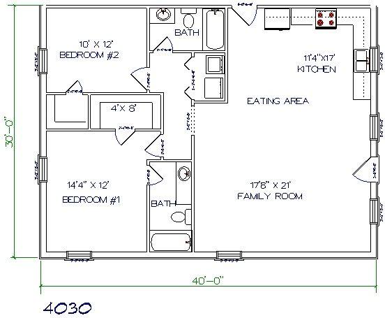 30×40 Barndominium Floor Plans Background