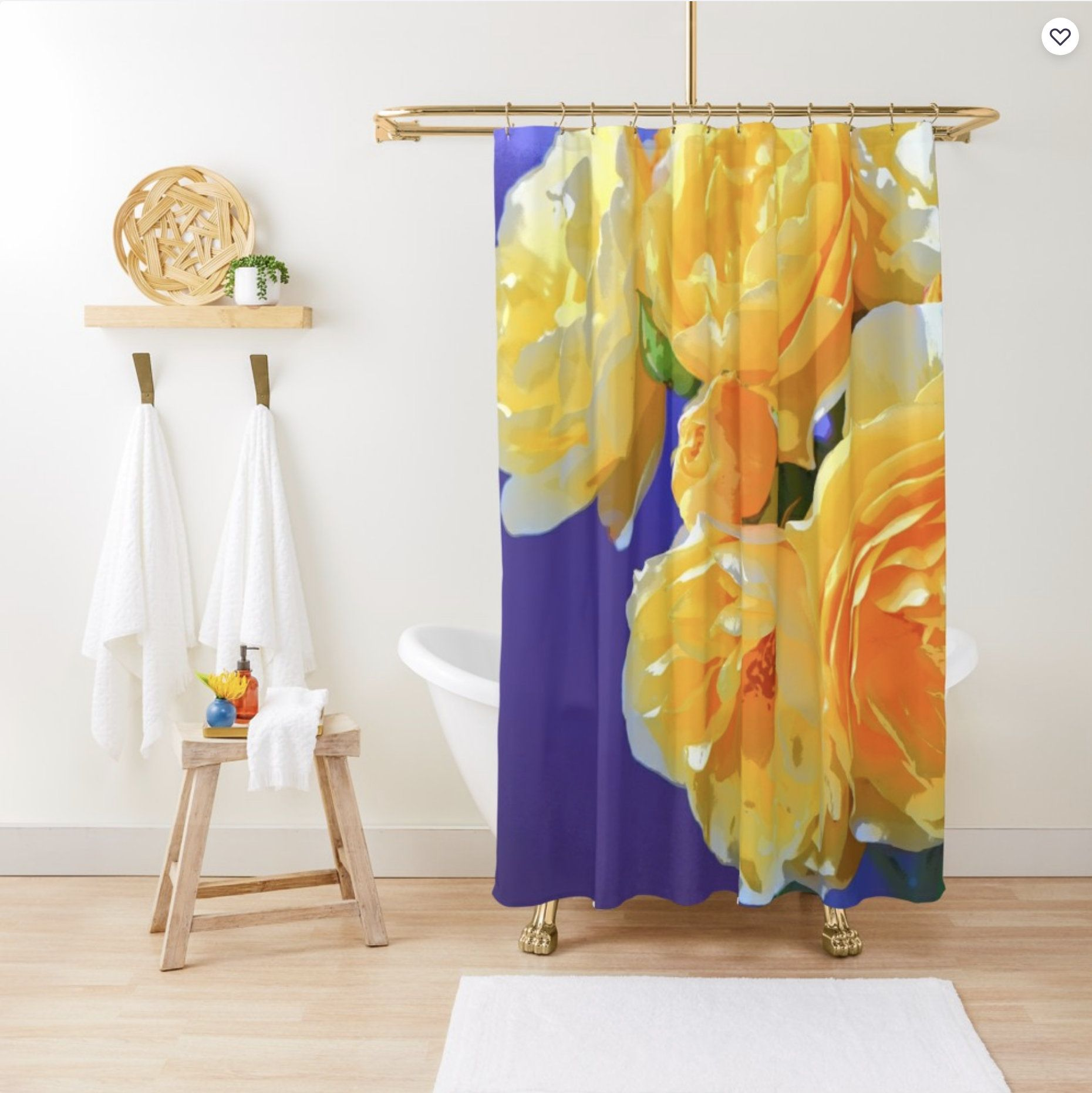Bright Floral Shower Curtain Sunny Yellow Shower Curtain Rose