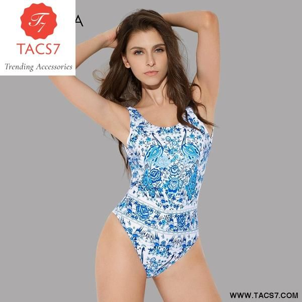 12605a10eac Swimsuit for Women Vintage Print Blakless Swimwear – Trending Accessories