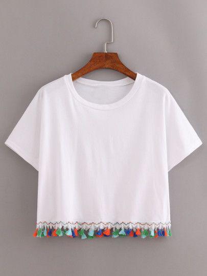 De Shein Sitio Spanish Borlas Franjeado sheinside Blanco Camiseta FnqfBU