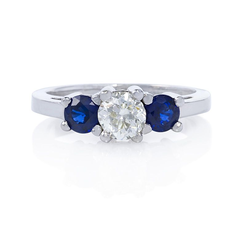 Old Miner Cut diamond engagement ring with sparkling blue sapphire accents.  Part of the Greenwich Jewelers custom design collection.