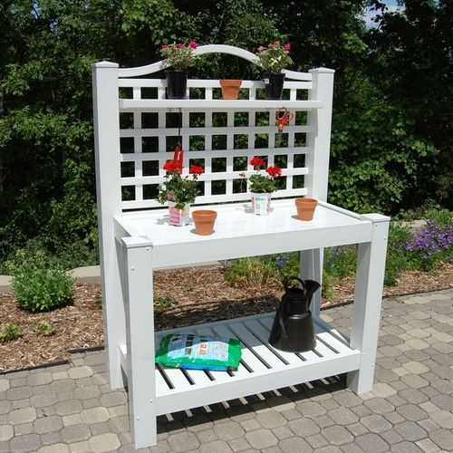 Cheap Online Furniture Stores Usa: White Vinyl Outdoor Potting Bench With Trellis