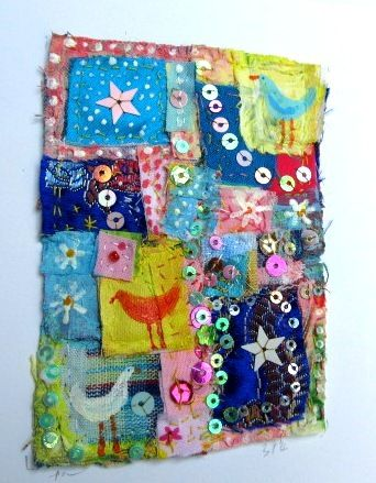 Fabric collage card