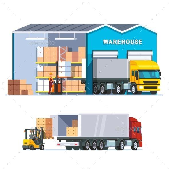 Logistics Warehouse With Loading Truck Modern Flat Warehouse