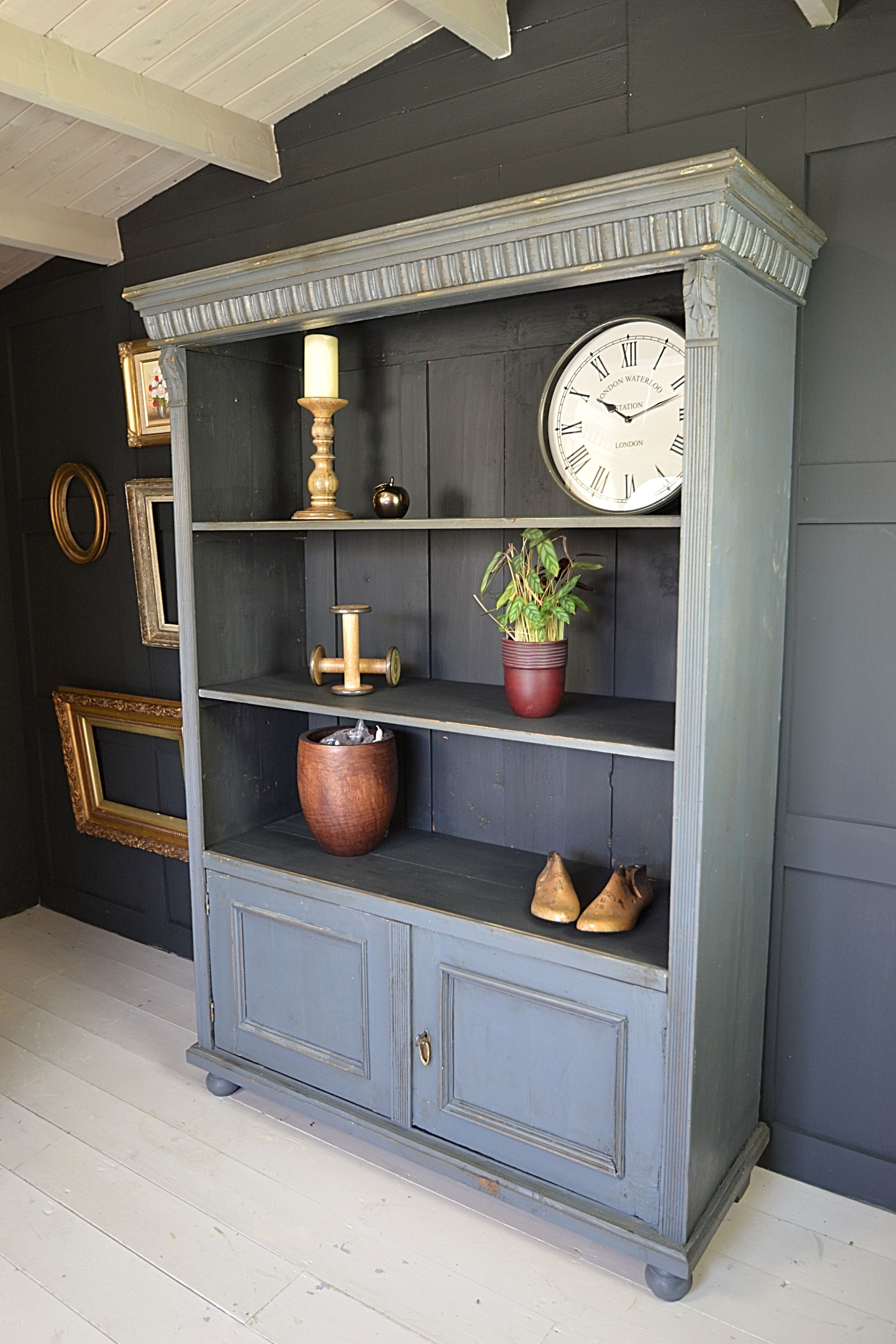 This Dutch Open Bookcase With Cupboard Doors Has Fantastic Rustic Appeal  And Makes The Perfect Storage For Any Home. The Sophisticated Blue Grey  Colour Goes ...