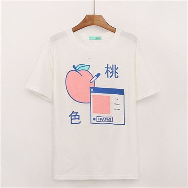 997edb3f3e Milk Peach Japanese Kawaii Harajuku T-Shirt | momo in 2019 | Peach ...