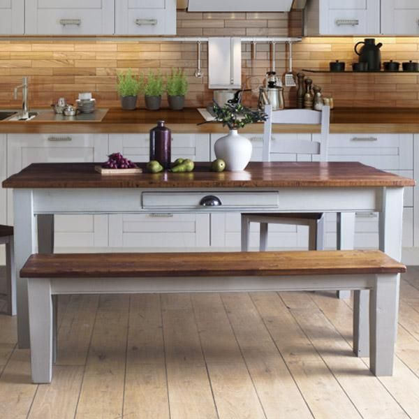 Provence Reclaimed Wooden Bench And Dining Table In Kitchen
