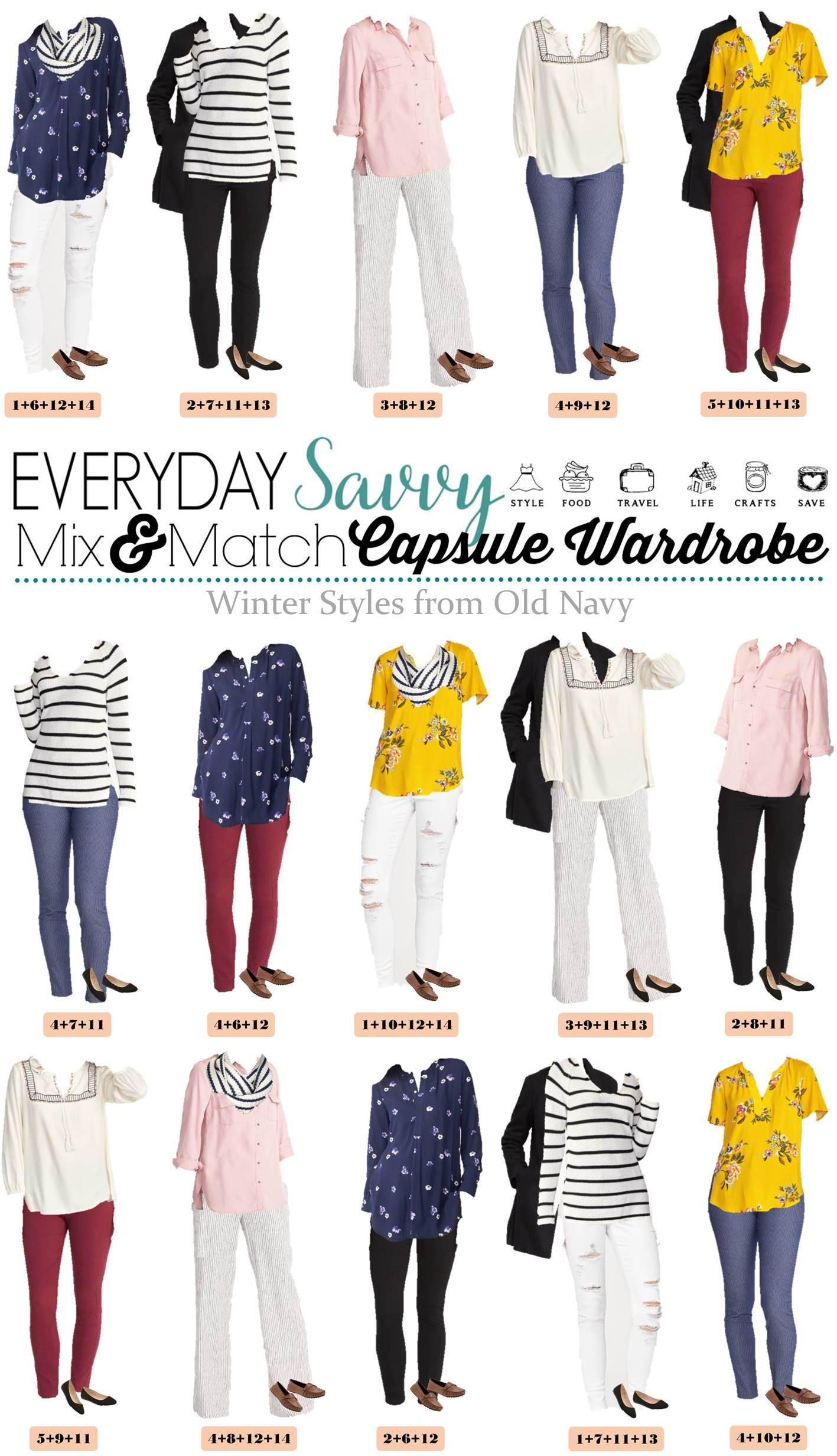 51c551870f Here is a fun and affordable Old Navy Winter to Spring Capsule Wardrobe.  These mix and match outfits transition easily to cute spring outfits for  women.