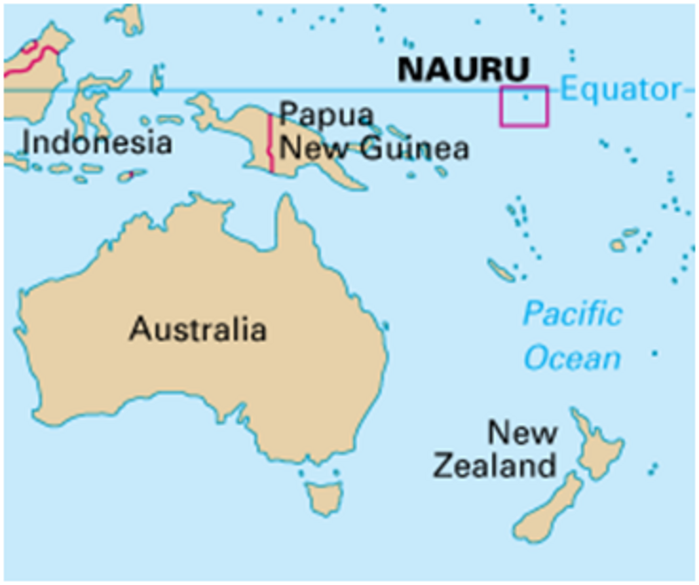 Nauru an island country in the Pacific Ocean between New Guinea and