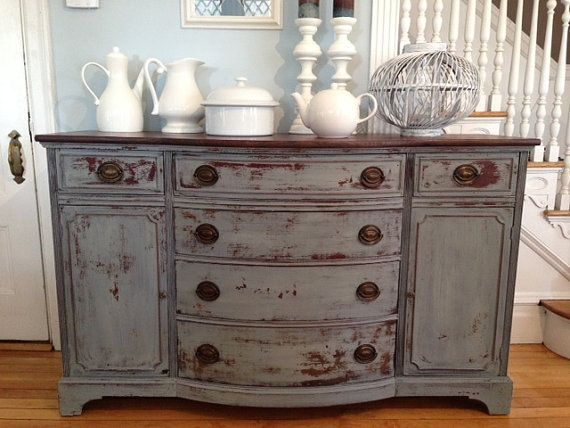 Antique Sideboard Buffet Console Refinished in Blue Milk Paint Hand  Distressed With Chippy Finish Nautical Coastal - Antique Sideboard Buffet Console Refinished In Blue Milk Paint Hand