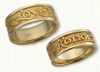 Latin Posey Wedding Rings in 14kt two tone gold - regular etch