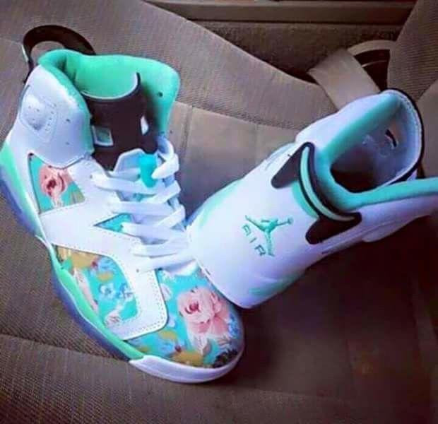 Womens Air Jordan  Floral Vivid White Pink Shoes