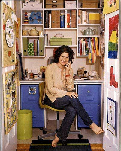Decorating small home office Closet office Colorful wall Space
