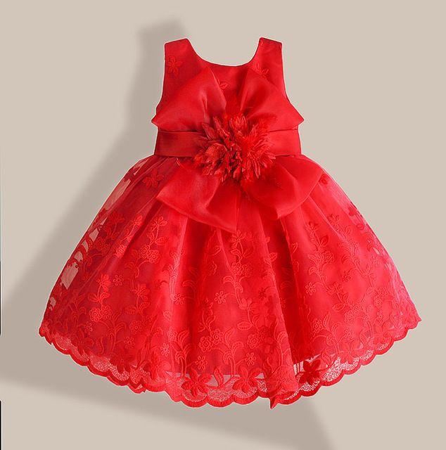 Navidad Niña Vestido Rojo Bordado De Encaje De Flores