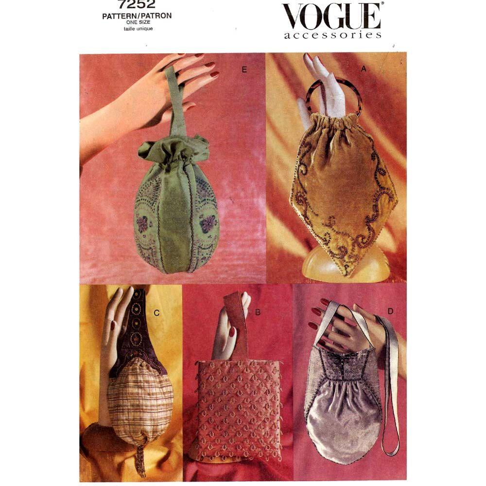 Victorian Edwardian Handbag Pattern Evening Bag Historical Purse Brides Sewing Vogue 7252 5 Styles