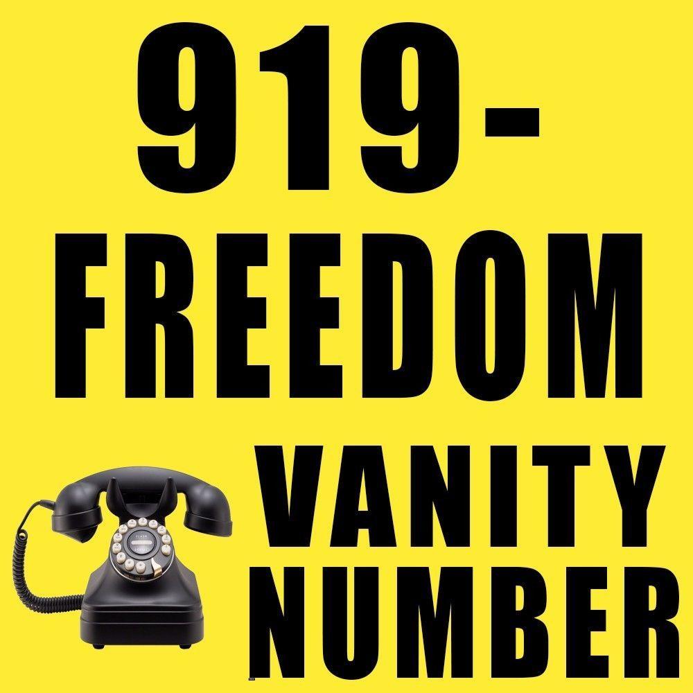 919-FREEDOM (373-3366) Vanity Phone Number North Carolina Raleigh Durham